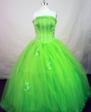 Popular Ball Gown Strapless Floor-length Spring Green Organza Embroidery Quinceanera Dress Style FA-L-147