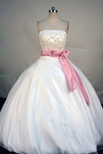 Popular Ball Gown Strapless Floor-length  White Satin Beading Quinceanera Dress Style FA-L-182