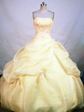 Popular Ball Gown Strapless Floor-length Yellow Organza Beading Quinceanera Dress Style FA-L-195