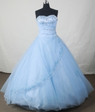 Popular Ball Gown Sweetheart Floor-length Baby Blue Organza Beading Quinceanera Dress Style FA-L-126