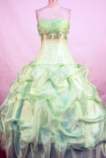 Popular Ball Gown Sweetheart Floor-length Yellow Green Taffeta Beading Quinceanera Dress Style FA-L-111