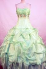 Popular Ball Gown Sweetheart Floor-length Yellow Green Taffeta Beading Quinceanera Dress Style FA-L-111