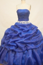 Pretty Ball gown Strapless Floor-length Organza Royal Blue Quinceanera Dresses Embroidery with Beading Style FA-Y-0011