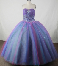 Romantic Ball Gown Beading Floor-length Blue Organza Quinceanera Dress Style FA-L-139