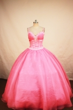 Romantic Ball Gown Strap Floor-length Coral Red Beading Quinceanera Dress Style FA-L-103