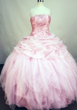 Romantic Ball Gown Strapless Floor-length Baby Pink Organza Quinceanera Dress Style FA-L-156