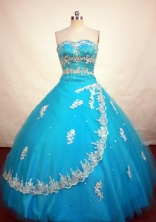 Romantic Ball Gown Strapless Floor-length Teal Taffeta Appliques Quinceanera Dress Style FA-L-100
