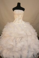 Romantic Ball Gown Strapless Floor-length White Organza Beading Quinceanera Dress Style FA-L-179