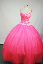 Romantic Ball Gown Sweetheart Floor-length Hot Pink Satin Appliques Quinceanera Dress Style FA-L-199