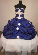 Romantic Ball Gown Sweetheart Floor-length Royal Blue Taffeta Quinceanera Dress Style FA-L-157