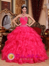 Ruffled Organza Wholesale Beaded Coral Red Ball Gown Sweetheart for 2013 Quinceanera In numi Paraguay Style QDZY032FOR
