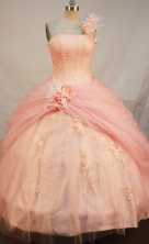 Simple Ball gown One Shoulder Neck Floor-length Quinceanera Dresses Appliques Style FA-Y-0066