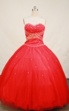 Simple Ball gown Sweetheart Floor-length Organza Red Quinceanera Dresses Sequins Style FA-Y-0055