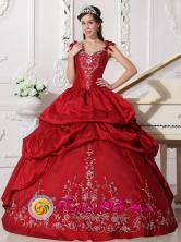 Straps Embroidery and Pick-ups For Elegant 2013 Quinceanera Dress With Satin and Taffeta In Jose Falcon Paraguay Style QDZY403FOR