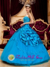 Stylish Quinceanera Dress For 2013 Teal Wholesale Lace and Appliques Ball Gown For Celebrity In Villa Oliva Paraguay Style QDZY164FOR