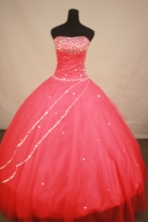 Sweet Ball Gown Strapless Floor-length Coral Red Beading Quinceanera Dress Style FA-L-180
