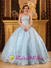 2013 Baby Blue Quinceanera Dress Strapless Organza  Beading Appliques IN  La Constancia Nicaragua  Style QDZY057FOR