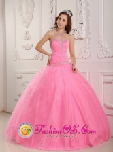 2013 Ball Gown Quinceanera Dress  Rose Pink Sweetheart Appliques Decorate Bodice  IN  El Bluff Nicaragua  Style QDZY170FOR