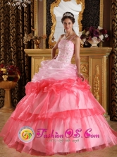 2013 Customer Made One Shoulder Romantic Quinceanera Dress Appliques with Beading Organza Ball Gown IN  La Paz Centro Nicaragua  Style QDZY345FOR