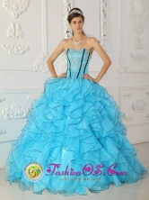 2013 Gorgeous Strapless Baby Blue Quinceanera Dress For Organza With Appliques Ball Gown IN  El Salto Nicaragua  Style QDZY355FOR