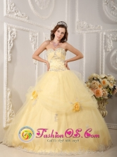 Beautiful Organza Light Yellow Sweetheart Quinceanera Dress With Appliques and Hand Made Flowers for Military Ball IN  Baka Nicaragua  Style QDZY129FOR