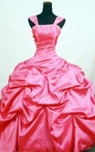 Beautiful ball gown cap sleeves strapless floor-length taffeta corel red beading quinceanera dresses FA-X-149