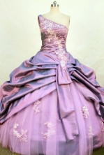 Beautiful ball gown one shoulder floor-length taffeta appliques quinceanera dresses FA-X-155
