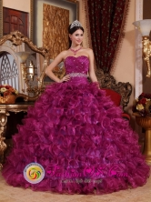 Brand New Dark Purple Quinceanera Dress For 2013 Beaded Sweetheart Ruffled Organza Ball Gown in   Laguna de Perlas Nicaragua  Style QDZY049FOR