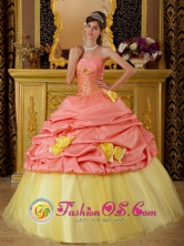 Colorful Hand Made Flowers and Pick-ups For Watermelon and Yellow Strapless Quinceanera Dress With Taffeta and Tulle Appliques for Military Ball IN  Tasbapauni Nicaragua  Style QDZY219FOR