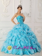 Customer Made Peach Springs  Beading and Ruched Bodice For Classical Sky Blue Sweetheart Quinceanera Dress With Ruffles Layered IN  El Castillo Nicaragua  Style QDZY240FOR