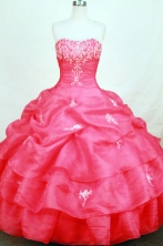 Cute ball gown sweetheart-neck floor-length organza coral red appliques with beading quinceanera dresses FA-X-146