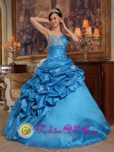 Fall Blue Stylish Quinceanera Dress 2013 New Arrival With Sweetheart Beaded Decorate IN  Wawasang Nicaragua  Style QDZY493FOR