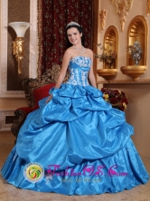 Gorgeous Sky Blue Ball Gown Pick-ups Sweet 16 Dress With Appliques Decorate Bust Taffeta for Military Ball  in   Juigalpa Nicaragua  Style QDZY607FOR