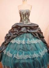 Gorgeous ball gown strapless floor-length taffeta appliques navy blue quinceanera dresses FA-X-143