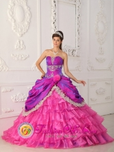 Hot Pink 2013 Quinceanera Ruffles Layered Dress With Appliques and Lace  IN  La Rosita Nicaragua  Style QDZY352FOR