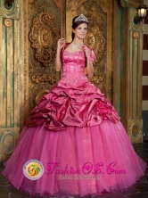 Hot Pink Taffeta and Organza  Quinceanera Dress With  Appliques  Pick -ups and Jacket in   Esteli Nicaragua  Style QDZY159FOR