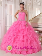 Inexpensive Rose Pink Quinceanera Dress With Strapless Custom Made with Ruffles and Beading for Quinceanera day IN  Alamikamba Nicaragua  Style QDZY724FOR