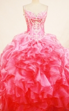 Luxurious ball gown straps chapel organza watermelon beading quinceanera dresses FA-X-183