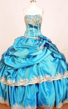 Modest Ball Gown Strapless Floor-length Quinceanera Dresses Appliques Style FA-Z-0345