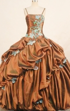 Modest ball gown straps floor-length taffeta appliques brown quinceanera dresses FA-X1824