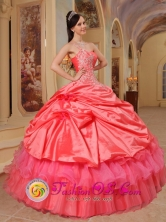 One Shoulder Appliques Coral Red and Pick-ups Quinceanera Gowns For 2013 Graduation IN  Prinzapolka Nicaragua  Style QDZY397FOR
