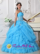 Prom Aqua Blue Stylish Quinceanera Dress With Beaded Decorate IN  Morrito Nicaragua  Style QDZY481FOR