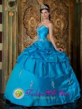 Sky Blue Quinceanera Dress With Pick-ups and Appliques Scattered For Sweet 16 in   Bumbona Nicaragua  Style QDZY175FOR