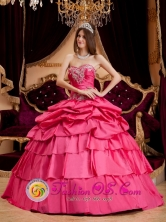 Stylish Pretty Hot Pink Appliques Quinceanera Dress With Ruffles Sweetheart Ball Gown  For Winter in   Bilwascarma Nicaragua  Style QDZY154FOR