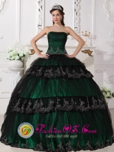 Taffeta and Lace For Dark Green Gorgeous Quinceanera Dress With Ruched Bodice and Appliques for Sweet 16 IN  Chichigalpa Nicaragua  Style QDZY524FOR
