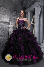 Taffeta and Organza Strapless Appliques and Decorate Bodice Ruffles Exclusive multi-color 2013 Quinceanera Dresses IN  El Rama Nicaragua  Style ZYLJ08FOR