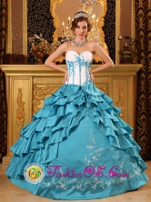 Teal Popular 2013 Quinceanera Dress Sweetheart Embroidery Bodice Layered Ruffles Taffeta  in   Laguna de Wounta Nicaragua  Style QDZY052FOR