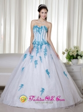 White And Blue Sweetheart Floor-length Taffeta and Organza Appliques Decorate Romantic Quinceanera Dress for  Formal Evening IN  Sang Sang Nicaragua  Style ZY686FOR