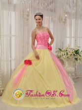 Winter Light Yellow and Baby Pink Hand Made Flowers Sweet Quinceanera Dress For Graduation in   Cokabilla Nicaragua  Style QDZY529FOR