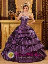 2013 Cantel Guatemala Custom Made Taffeta Dark Purple Sweetheart Appliques and Pick-ups Quinceanera Dress Style QDZY126FOR